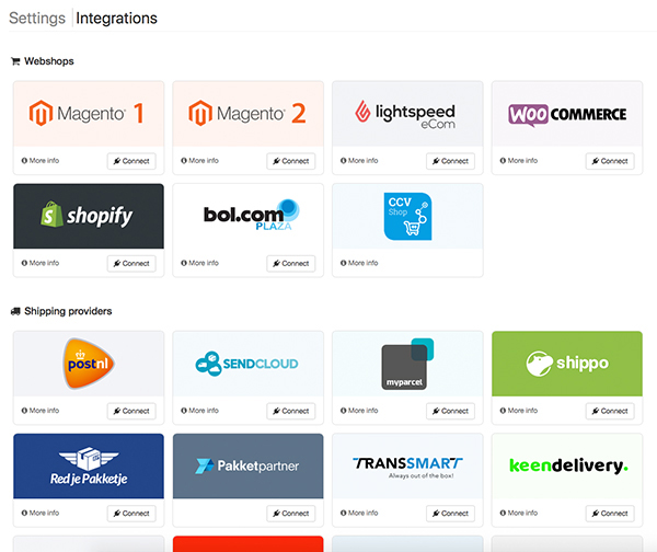 New integrations page Picqer