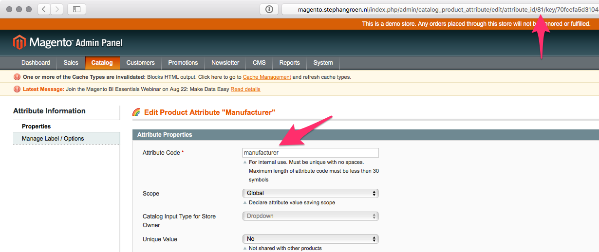 Magento attribute details